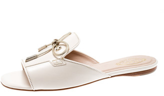 Tod's Limited Edition Light Pink Leather Crystal Embellished Bow Peep Toe Flat Slides Size 37