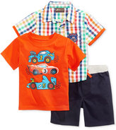 Nannette 3-Pc. Plaid Shirt, T-Shirt & Shorts Set, Baby Boys (0-24 months)