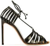Francesco Russo weave stiletto pumps - women - Leather - 36