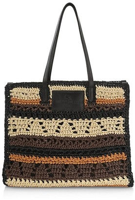 Etro Rafia Striped Globetrotter Tote