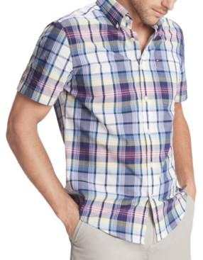 Tommy Hilfiger Men's Custom-Fit Dale Hollow Plaid Short Sleeve Shirt