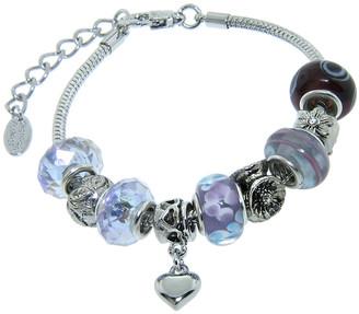 Swarovski Golden Moon Women's Bracelets Purple - Purple Heart Charm & Bead Bracelet With Crystals