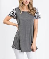 Cool Melon Women's Tunics Charcoal - Charcoal & Gray Leopard-Contrast Butterfly-Sleeve Tunic - Women & Plus