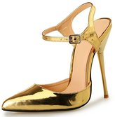 Katypeny Womens Elegant Slingback Ankle Strap Buckle Pointed Toe Stiletto Metal Heel Pumps Shoes Size 13 EU48
