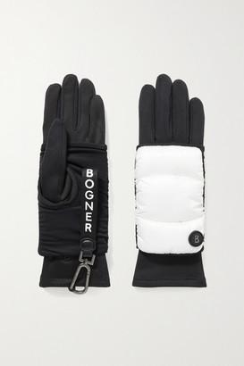 Bogner Layered Padded Shell And Stretch-jersey Ski Gloves - Black
