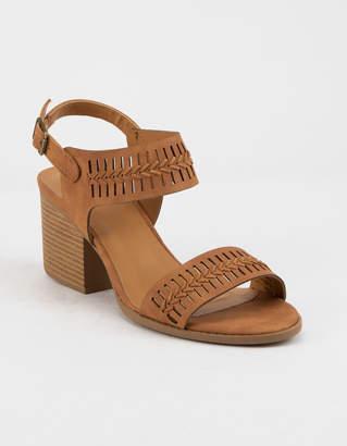 Qupid Laser Cut Open Toe Womens Heeled Sandals