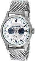 Peugeot Men's 1049S Classic Stainless Steel Mesh Multi Function Analog Display Quartz Silver Watch
