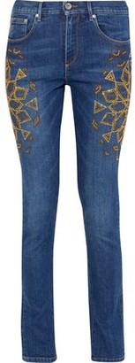Roberto Cavalli Crystal-embellished Mid-rise Skinny Jeans