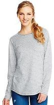 Hanes Women's Striped Long-Sleeve Shirttail Crewneck T-Shirt Women's Tops