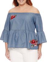 A.N.A a.n.a 3/4 Sleeve Woven Blouse-Plus