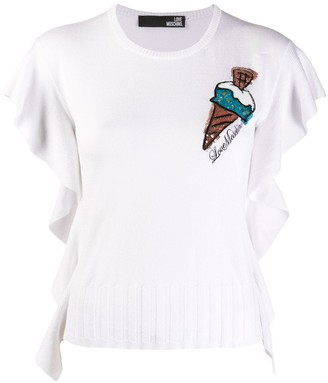 Love Moschino Ice-Cream Sequinned Knit Blouse