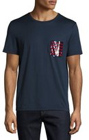 Burberry Sequined-Pocket T-Shirt, Navy
