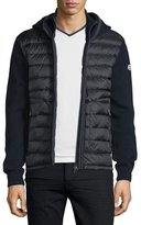 Moncler Puffer-Panel Front-Zip Sweater, Navy