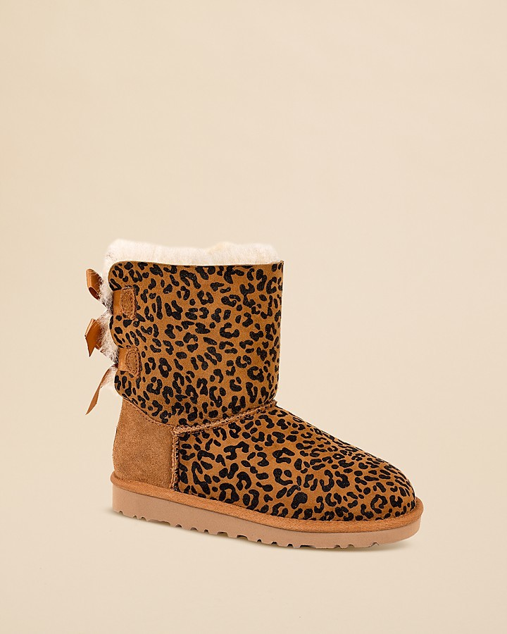 UGG Girls' Leopard Bailey Bow Boots - Toddler