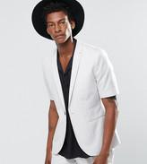 Religion Slim Blazer In Pale Grey With Short Sleeve