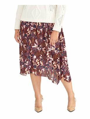 Rachel Roy Womens Maroon Floral Midi A-Line Skirt Plus Size: 2X