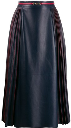 Gucci GG leather midi skirt