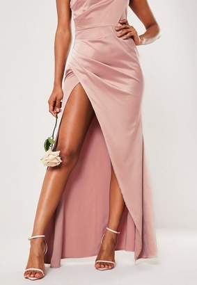 Missguided Bridesmaid Pink Satin One Shoulder Maxi Dress