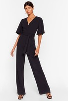 Nasty Gal Womens Shut Up and Dance Plunging Wide-Leg Jumpsuit - black - 6