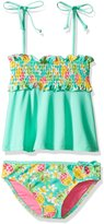 YMI Jeanswear Big Girls' Hawaiian Punk Two Piece Smocked Tankini Swimsuit