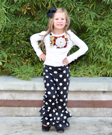 Beary Basics White Top & Black Dot Ruffle Pants Set - Infant Toddler & Girls