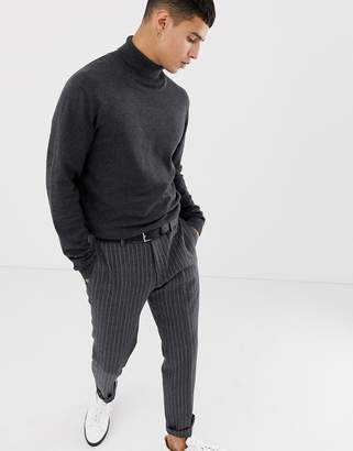 Selected roll neck knit-Grey