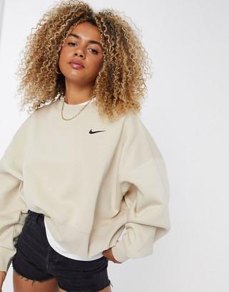 Nike mini swoosh oversized boxy sweatshirt in oatmeal