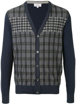 Brioni Check Long-Sleeve Cardigan