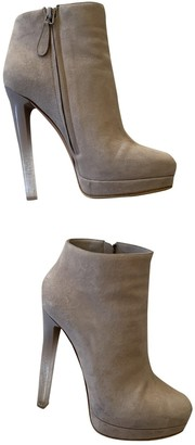 Alexander McQueen White Suede Ankle boots