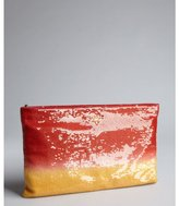 Prada red and orange ombre sequined oversized zip clutch