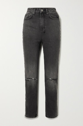Ksubi Chlo Wasted Distressed High-rise Straight-leg Jeans - Black