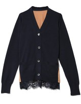 Sacai Cotton Knit Cardigan in Navy/Beige