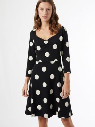 Dorothy Perkins Spot Print Ruched Front Dress - Black