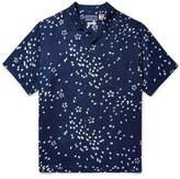 Blue Blue Japan Camp-Collar Indigo-Dyed Printed Twill Shirt