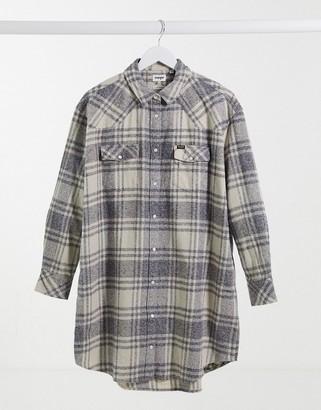 Wrangler oversized long check shirt in check