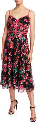 Tadashi Shoji Floral Embroidered Sweetheart Dress