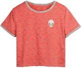 Uideazone Women Alien Crop Top Girls Slim Pink Tees Shirt Cute