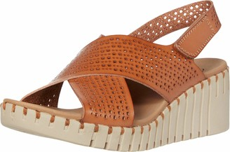 Skechers PIER AVE - Beach Chick - Wedge Heeled Casual Comfort Slingback Cross Strap Slide Sandal Tan