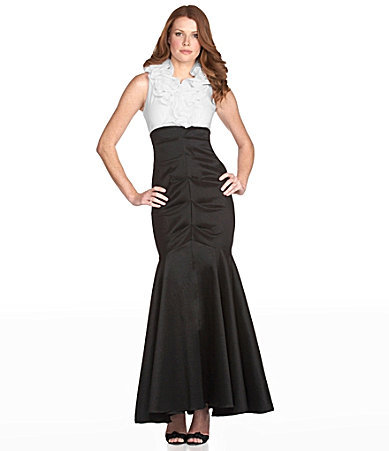Xscape Evenings Ruffle Two-Tone Gown