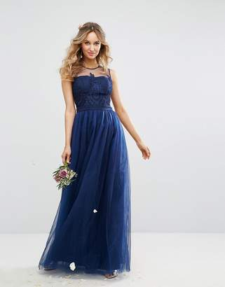 Chi Chi London Embroidered Tulle Maxi Dress With Button Back-Navy