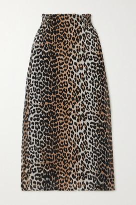 Ganni Leopard-print Georgette Midi Skirt - Leopard print