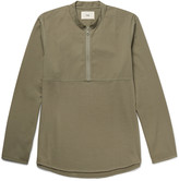 Folk - Mandarin-collar Cotton-twill And Jersey Half-zip Shirt