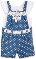 Nannette 2-Pc. Cotton T-Shirt & Shortall Set, Toddler & Little Girls (2T-6X)