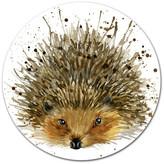 "Design Art Usa Hedgehog Illustration Watercolor, Animal Art Disc Metal Wall Art, 11"""