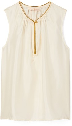 Tory Burch Shell Top with Gold Piping
