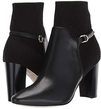 Cole Haan Camille Bootie 85 mm (Black Leather/Tonal Knit/Black Stack) Women's Shoes
