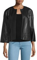 Michael Kors Cookie Open-Front Leather Jacket, Black
