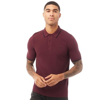 Fred Perry Mens Knitted Polo Mahogany