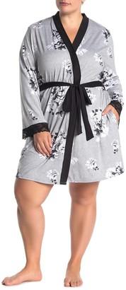 Joe Fresh Floral Lace Trim Jersey Robe (Plus Size)