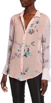Chelsea And Walker Silk Floral Button Down Metallic Blouse